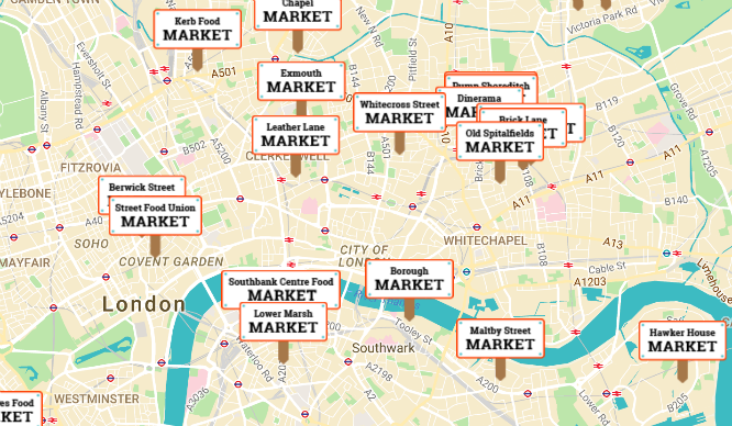 Show Map Of London.This Interactive Map Shows You London S Best Street Food Markets
