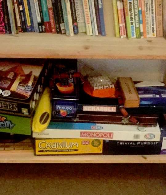 A snake on a bookcase.