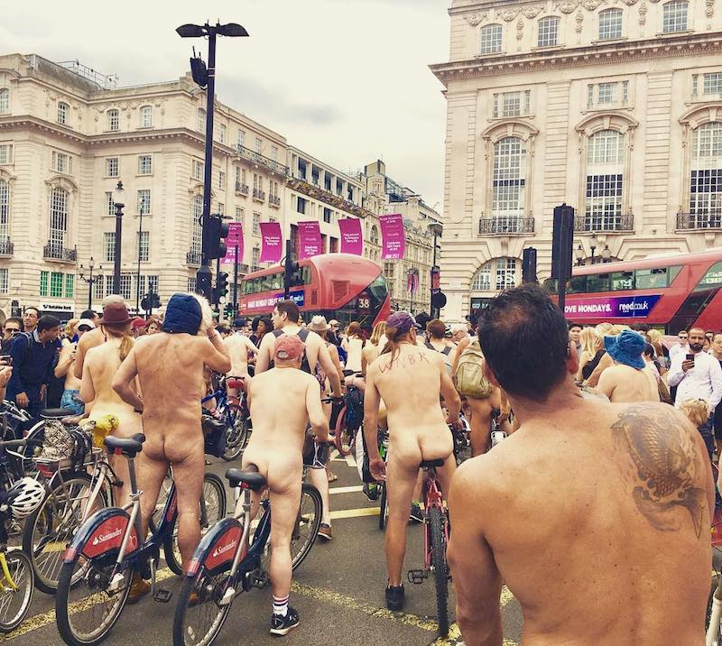 Nude Cycling In Traffic