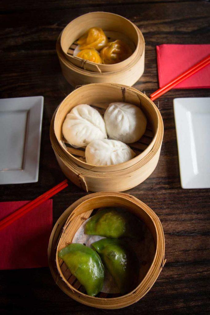 Assorted dumpling-y dim sum.