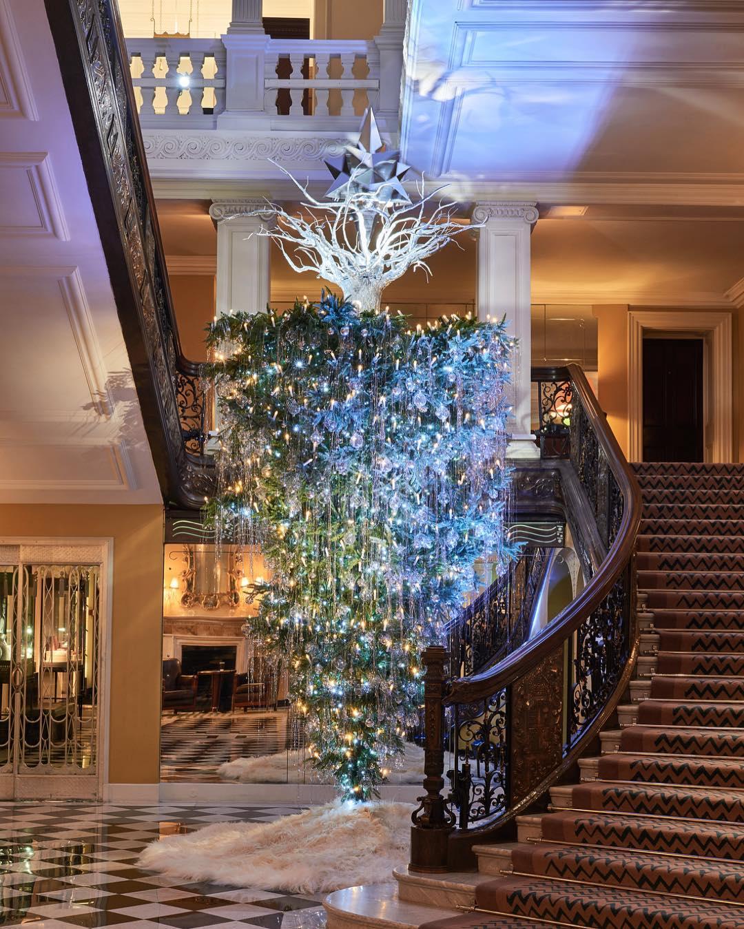 Upside down Christmas tree Claridges London