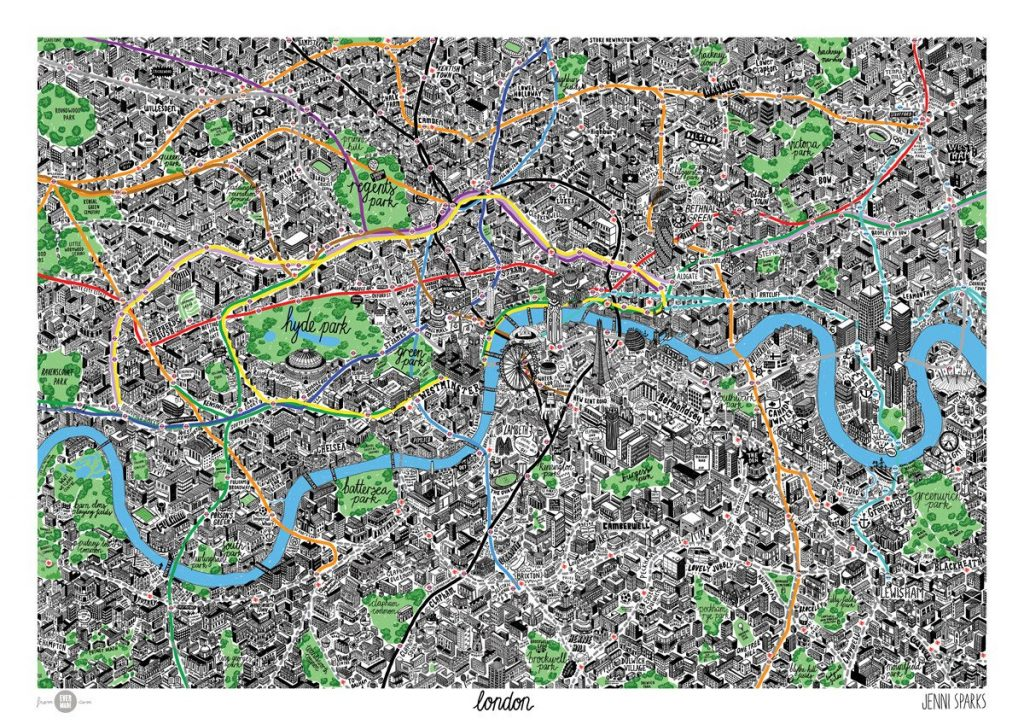 Illustrated London map print poster