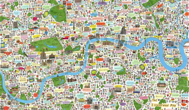 Illustrated map of London city poster