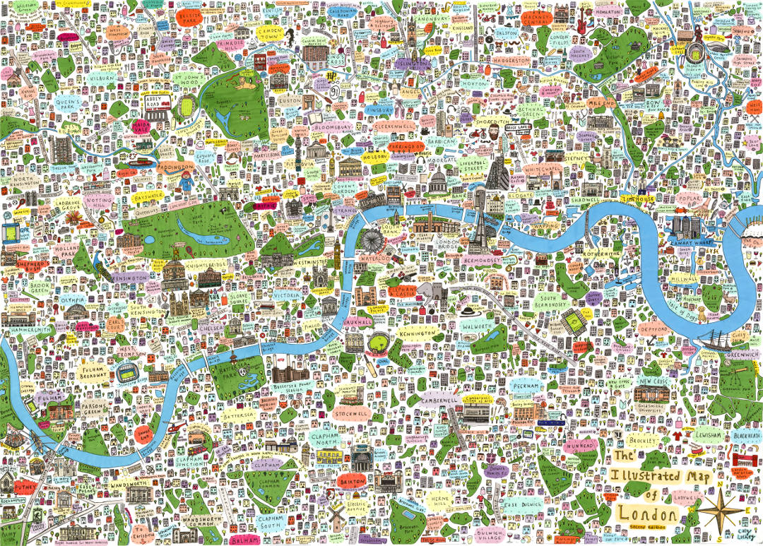 London City Area Map.9 Beautiful Illustrated Maps Of London Posters And Prints You Can Buy
