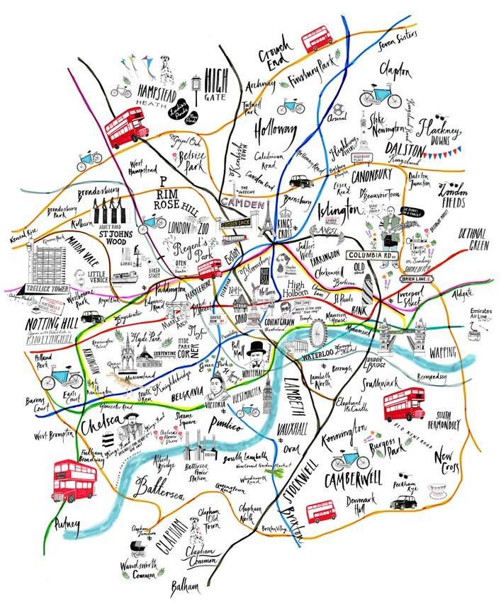 9 beautiful illustrated maps of london posters and prints you can buy tube map illustration london gumiabroncs Images