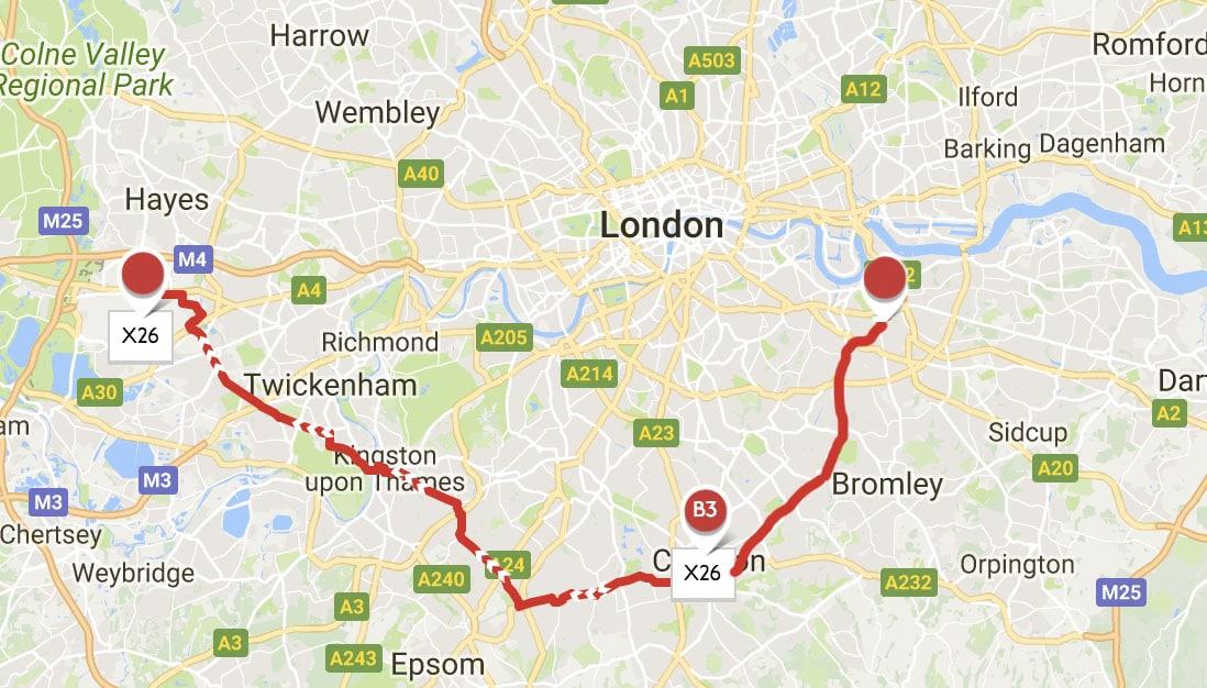 Longest bus hopper journey london