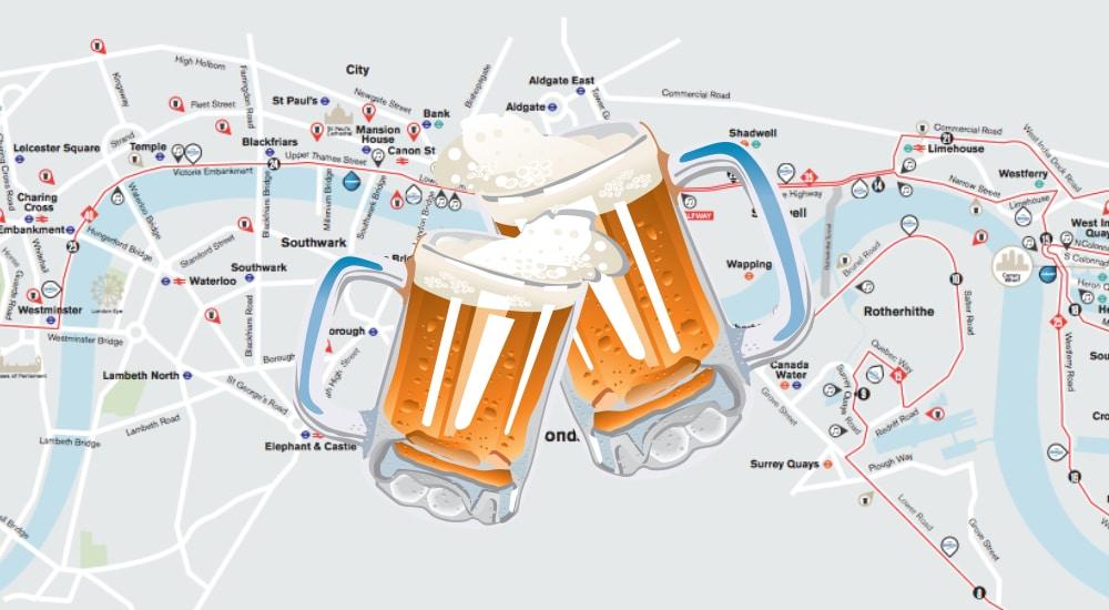 Great London Map.The Great Big London Marathon Spectator S Pub Crawl Secret London
