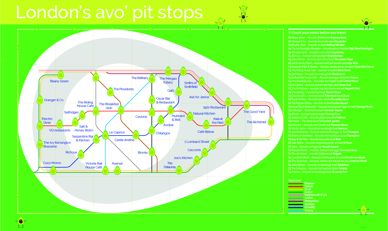This Tube Map Will Help You Find All Of London\'s Best Avocado Pit Stops