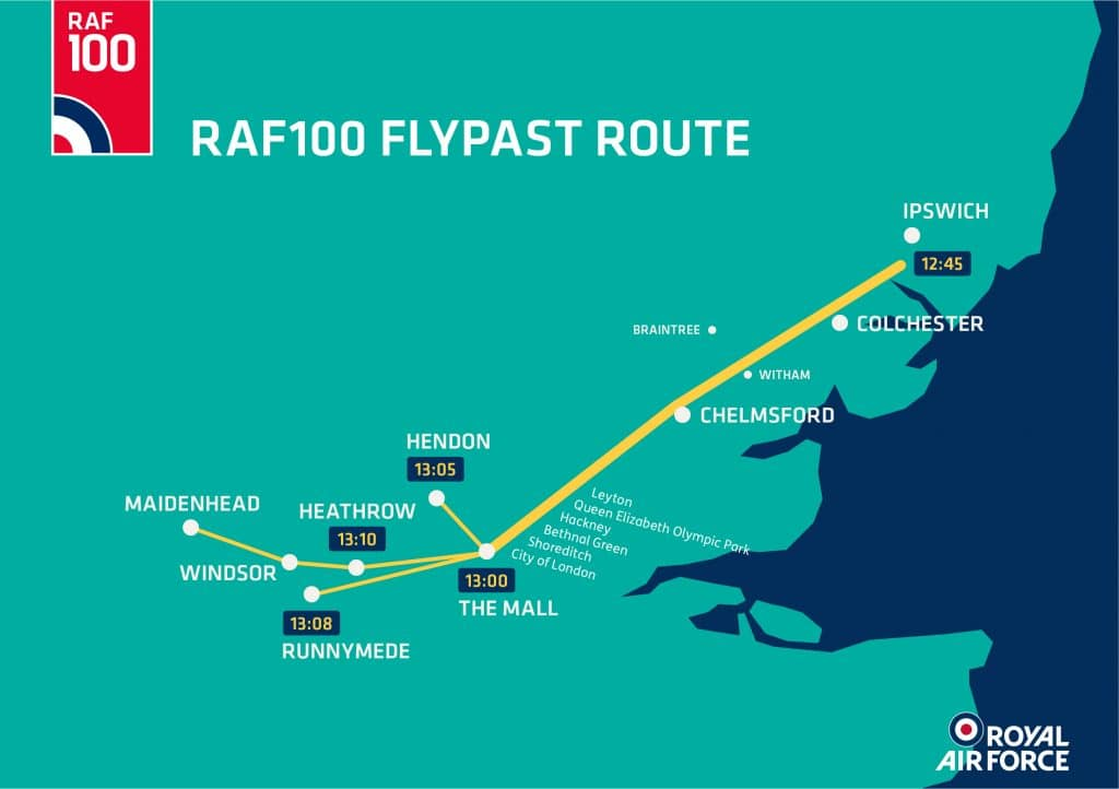 London Flypast Route Map