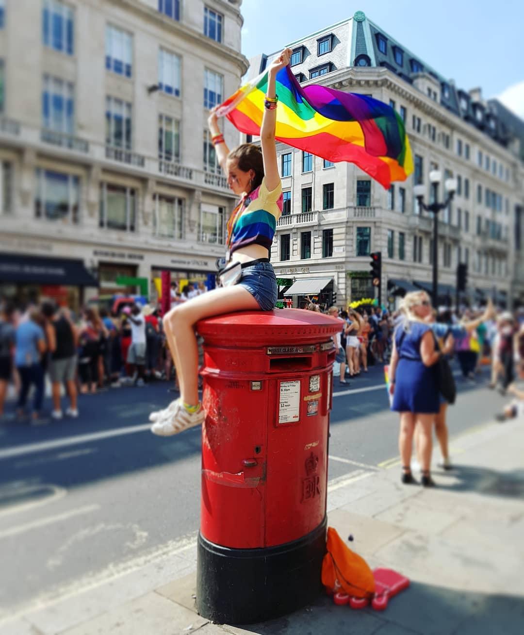 London Pride Flag postbox