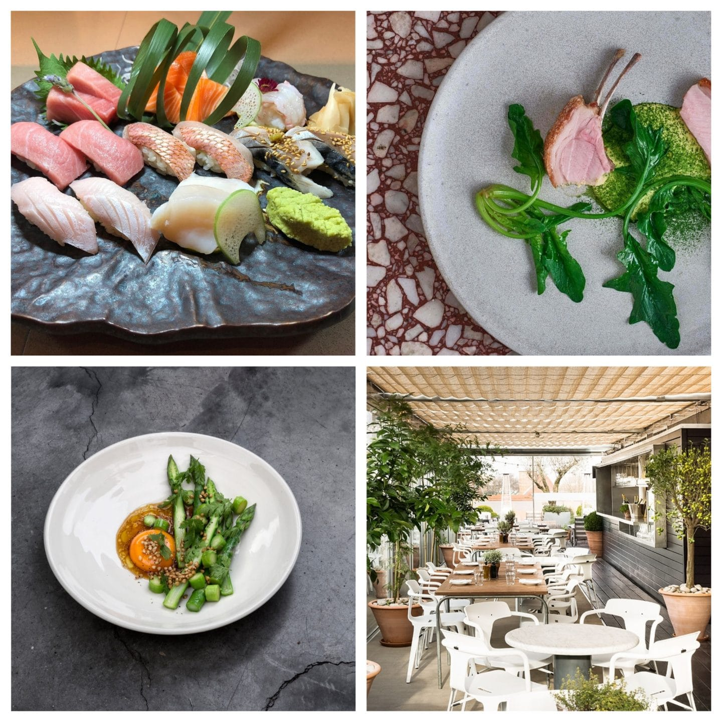 Clockwise from top left: Nobu Shoreditch, The Clove Club, Boundary Rooftop, Lyle's