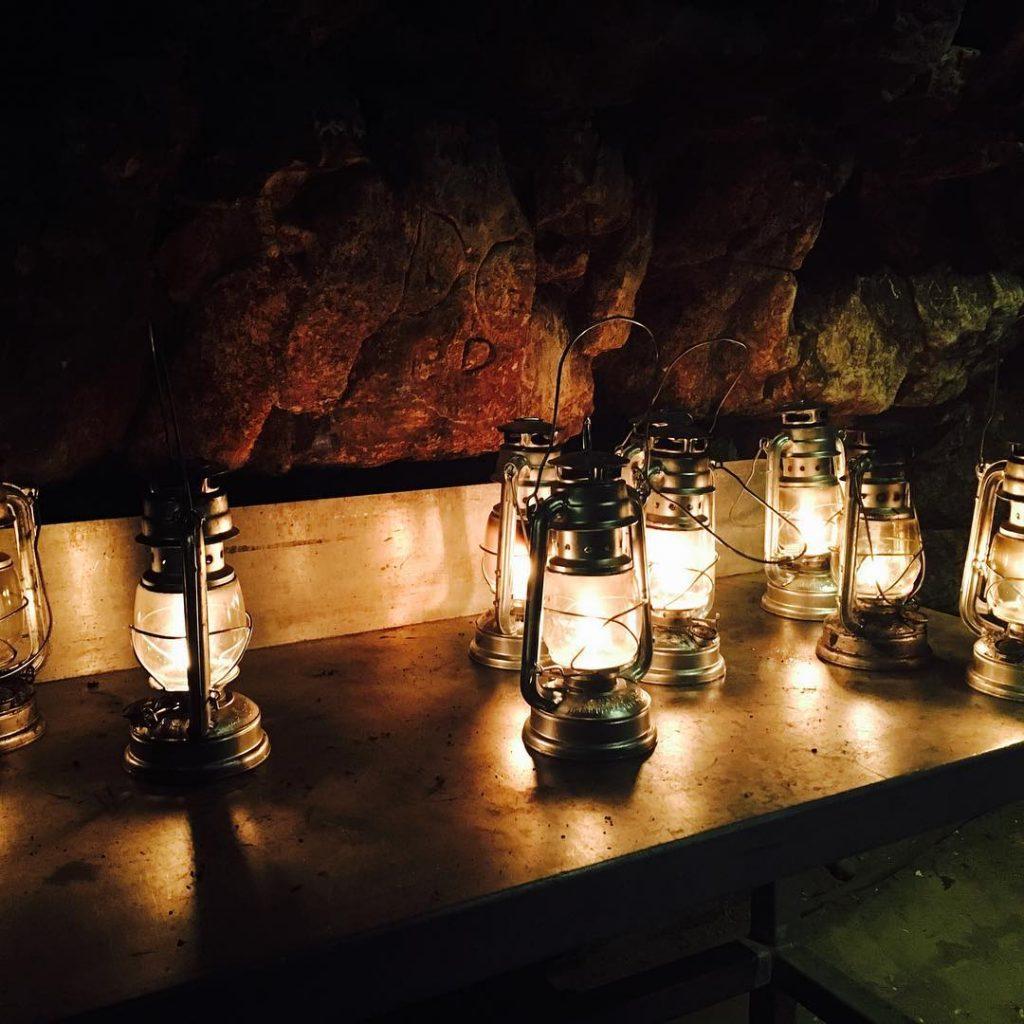 Lanterns underground cave