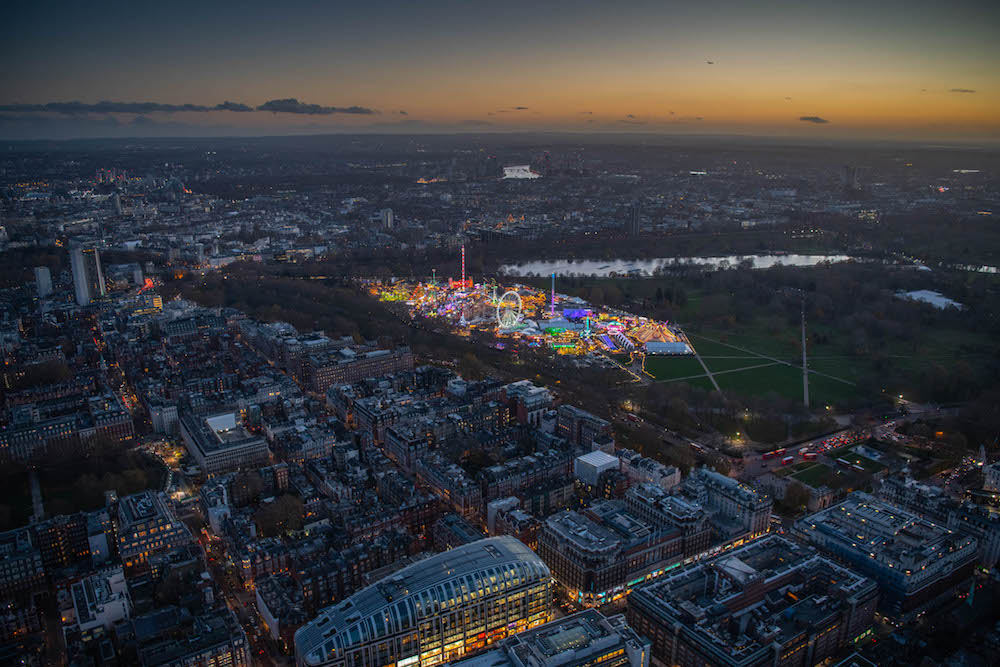 Looking from the Marble Arch over Mayfair to Hyde park and Winter Wonderland.