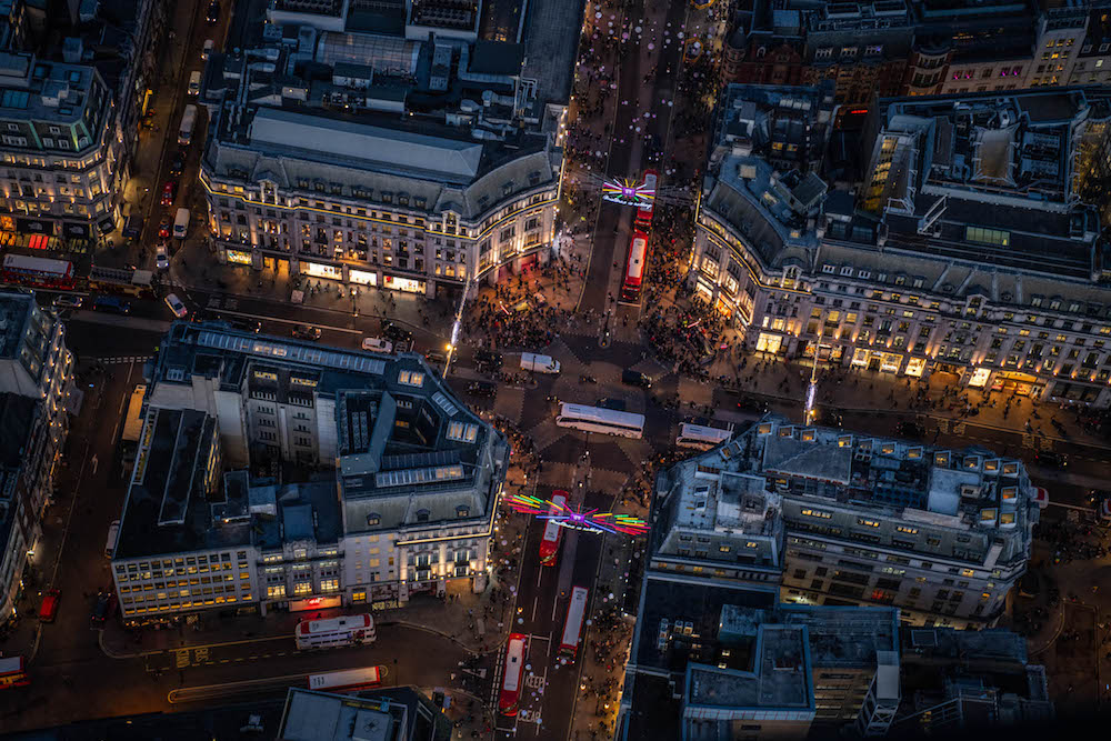 Shoppers and commuters at Oxford Circus.