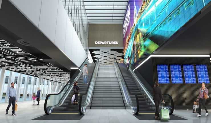 This is what the entrance to the Departures area will look like.