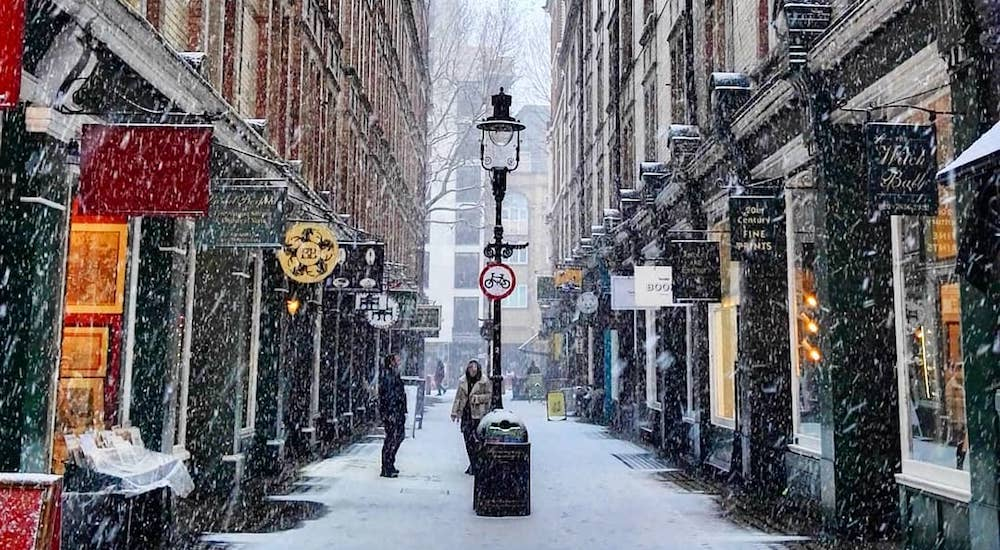 Cecil Court in the snow