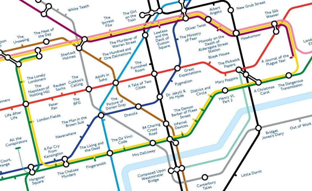 London Dangerous Areas Map.Literary Tube Map Replaces Station Names With Famous London