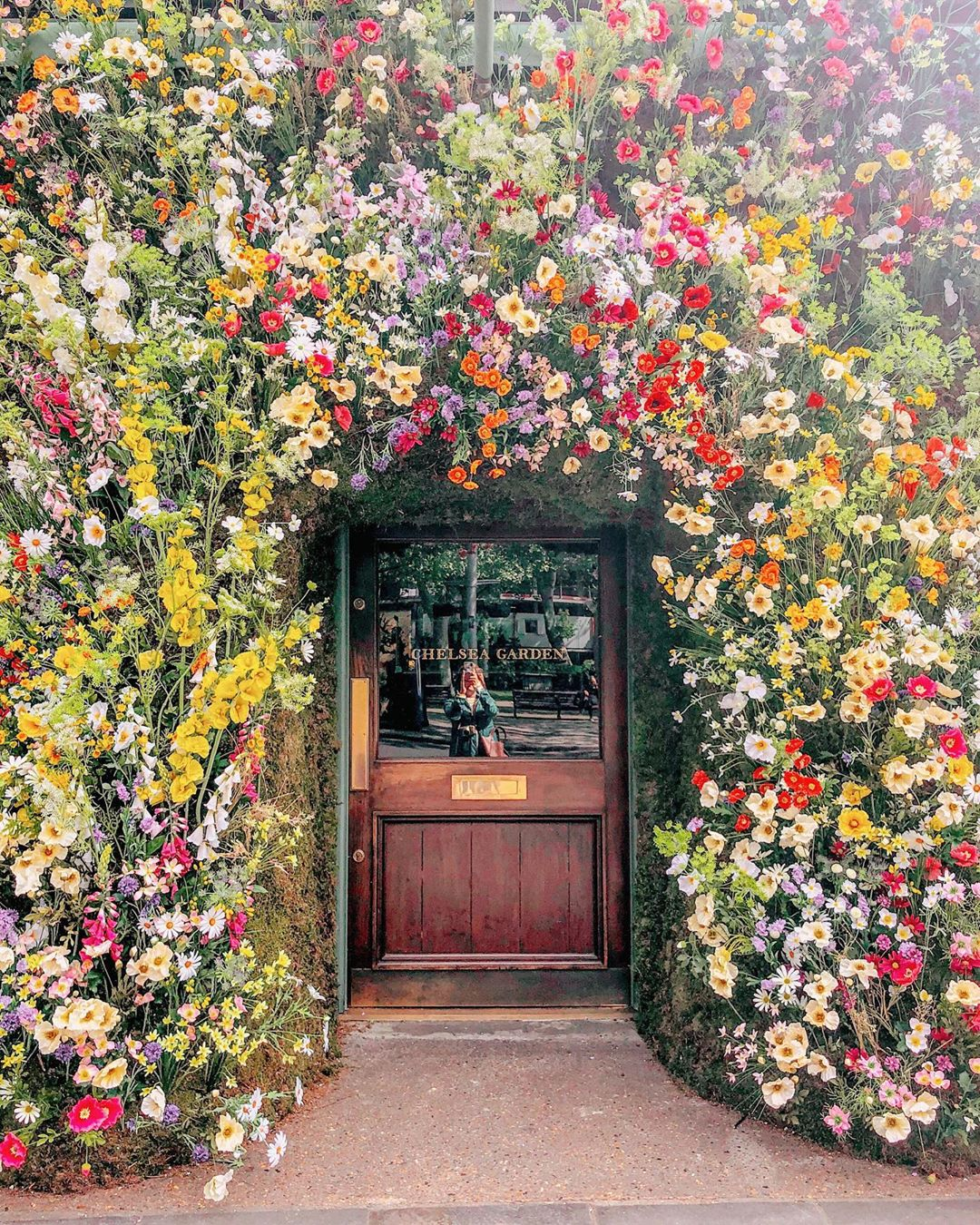 this restaurant façade turned dreamy meadow is totally 'grammable