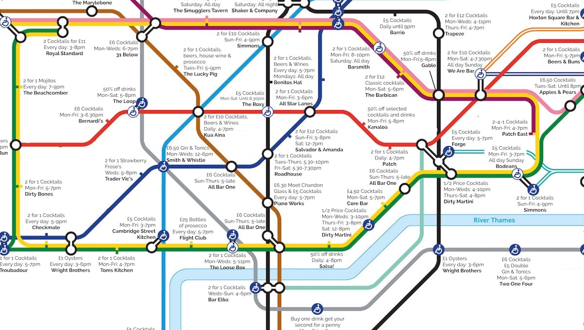 Best London Map.This Handy Map Will Show You The Best Happy Hours Next To Every Tube
