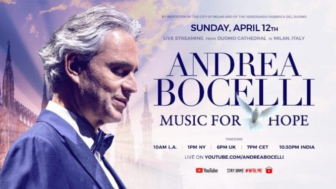 Andrea Bocelli will perform live on Easter from an empty cathedral
