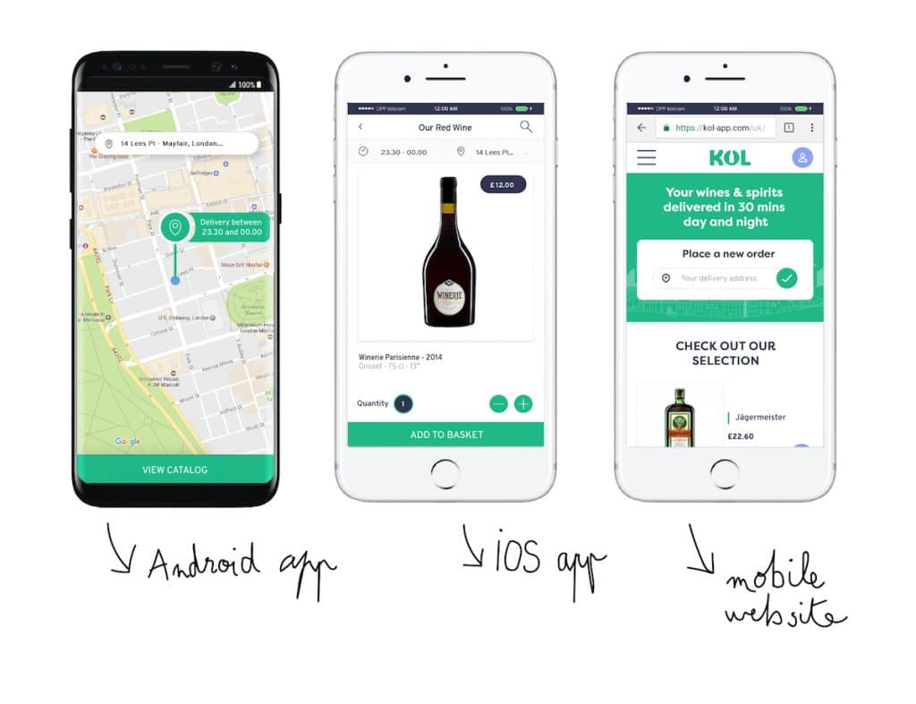 Kol-App, the alcohol delivery service in London