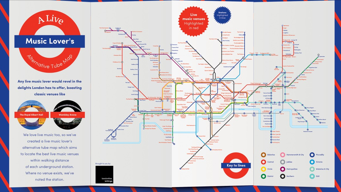 the people at london fox lettings have created a gig venue tube map to help any music loving londoner find somewhere new to explore in the city