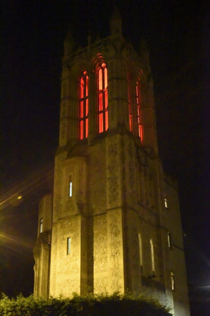 The tower lit up for Halloween. [Photo: Marie Ruete]