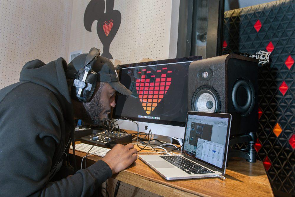 Nando's recording studio in the Soho restaurant on Frith Street in London. 5th December 2017