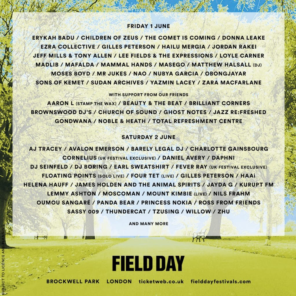 Field Day Festival Lineup 2018