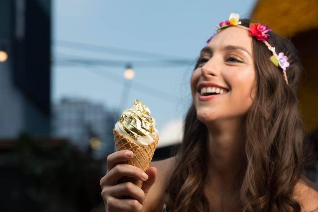Gold leaf ice cream