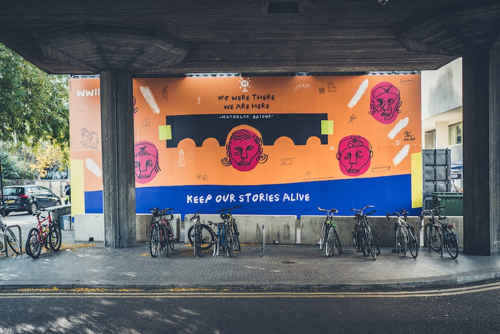Artist Joy Miessi's artwork, 'The women who built Waterloo Bridge' at The Southbank Centre.