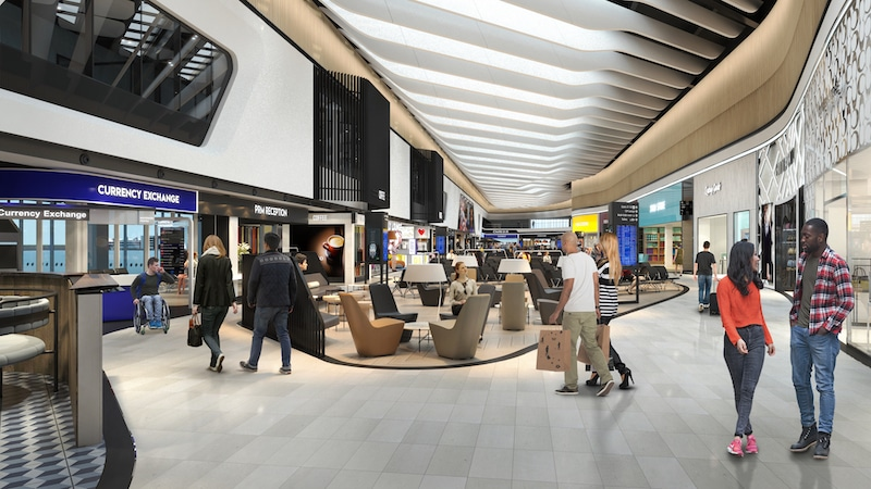 The new departures hall has twice as many shops and restaurants.